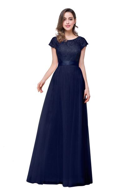 ELLIANA | A-line Short Sleeve Chiffon Bridesmaid Dresses with Ribbon Bow Sash_4