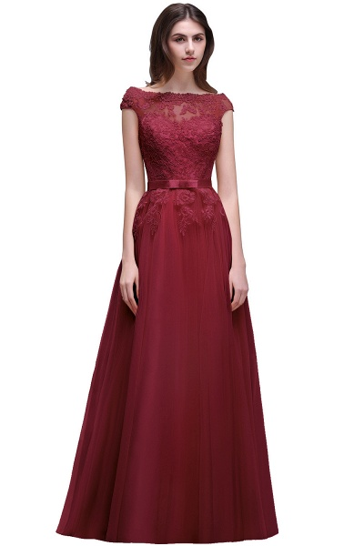 A-line Floor-Length Tulle Bridesmaid Dress With Lace Appliques_3
