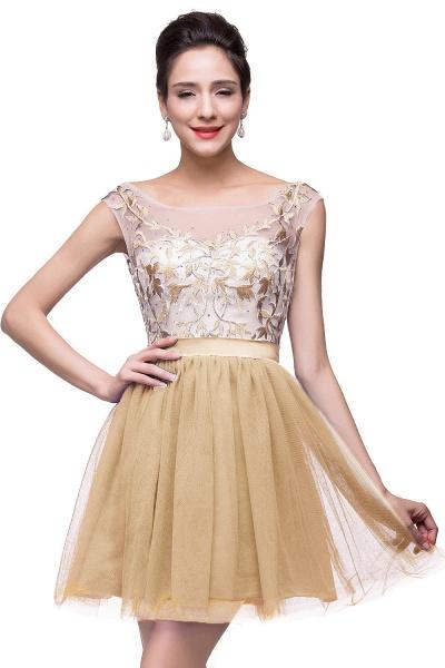 ELIZA | A-line Sleeveless Bateau Short Tulle Appliques Prom Dresses_2