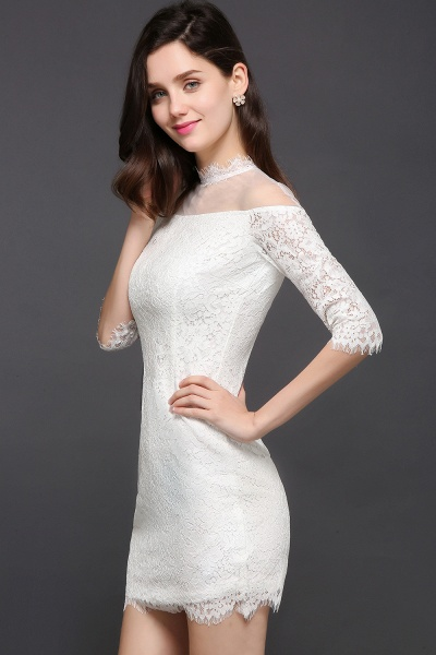 Affordable High Neck Lace Princess Evening Dress_6