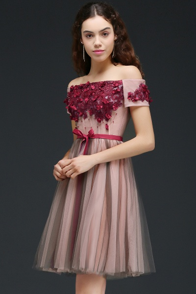 Sleek Off-the-shoulder Tulle A-line Homecoming Dress_3