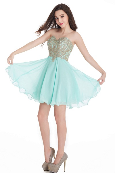 A-Line Strapless Short Chiffon Prom Dresses with Beadings_12