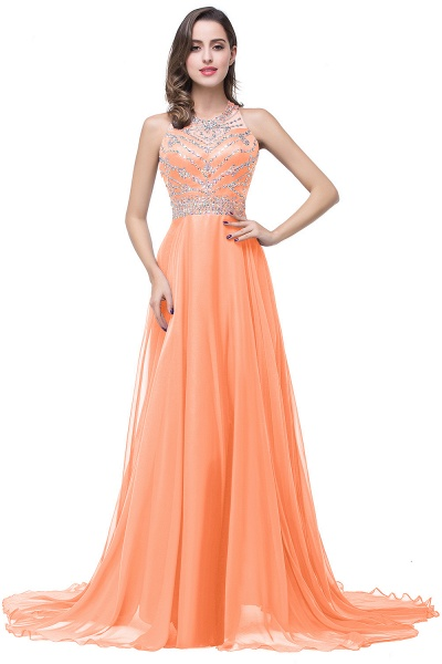 Eye-catching Jewel Tulle A-line Evening Dress_1