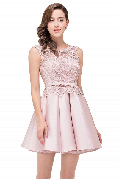 A-line Lace Knee-length Satin Homecoming Dress_8