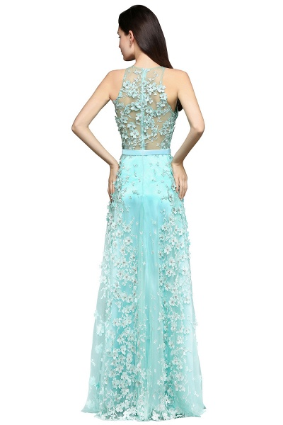 ARIAH | A-line Floor Length Tulle Amazing Evening Dresses with Flowers_3