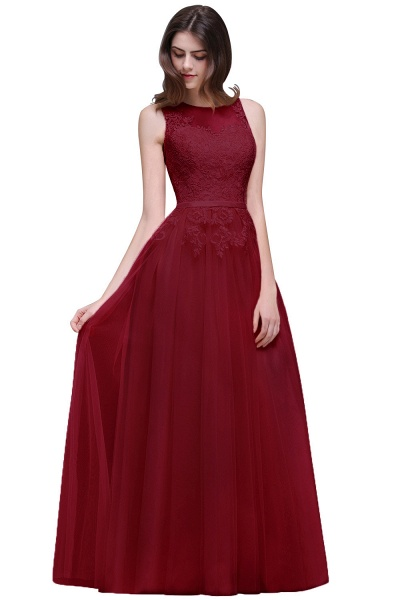A-line Floor-Length Tulle Bridesmaid Dress With Lace_3