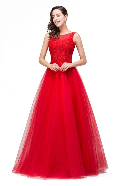 FIONA | A-Line Sleeveless Floor-Length Appliques Tulle Prom Dresses_1