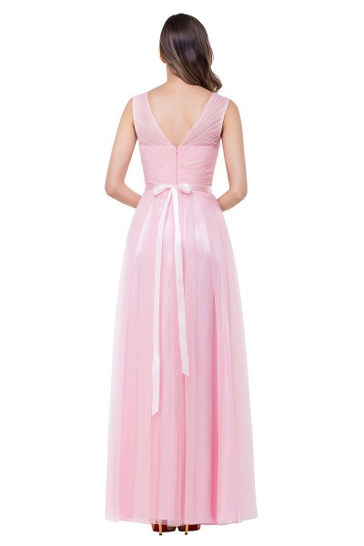 ELLIOT | A-line Sleeveless V-neck Floor-length Tulle Bridesmaid Dresses_5