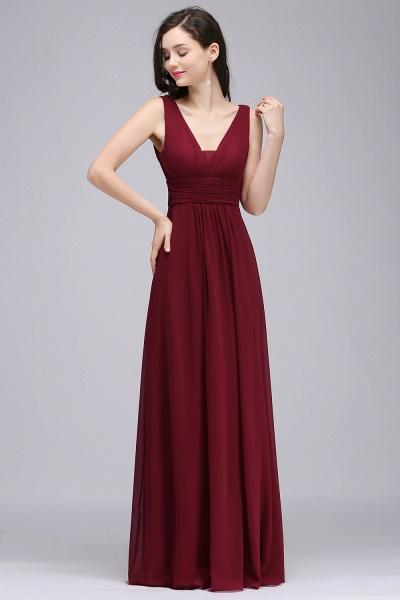 V-neck Chiffon Column Floor Length Bridesmaid Dress_1