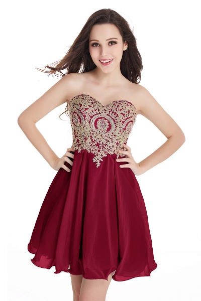 A-Line Strapless Short Chiffon Prom Dresses with Beadings_2