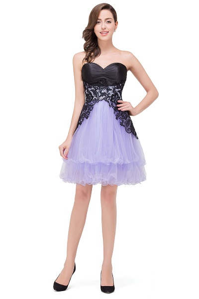 EVALYN | A-line Sweetheart Short Prom Dresses with Bowknot-Sash_7