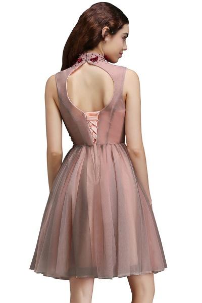 Exquisite High Neck Satin A-line Homecoming Dress_2