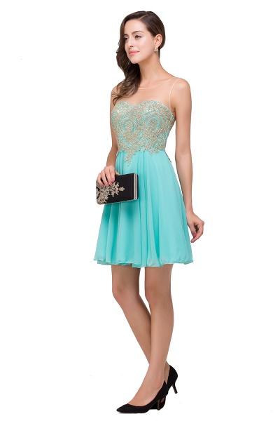 Appliques Elegant Short Sleeveless Chiffon Prom Dresses_5