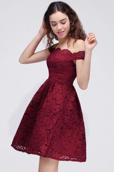 Burgundy Off-the-shoulder Lace Cheap Party Dresses_5