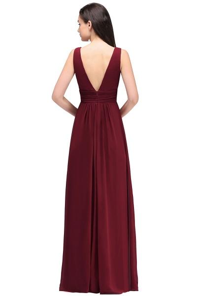 V-neck Chiffon Column Floor Length Bridesmaid Dress_5