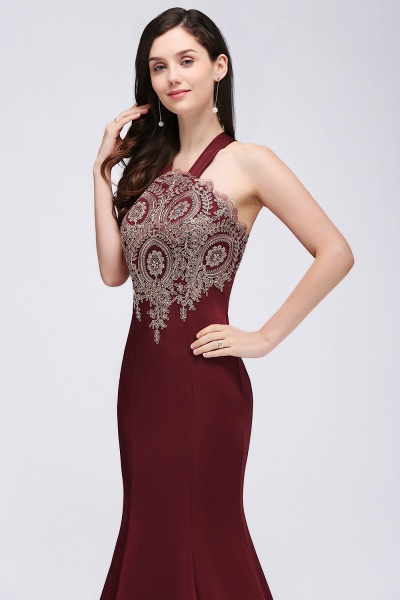 EILEEN | Mermaid Scalloped Floor-length Appliques Burgundy Prom Dresses with Beadings_7