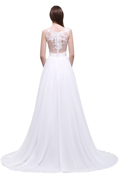 Chiffon Lace Appliques Sleeveless Boho Wedding Dress_6