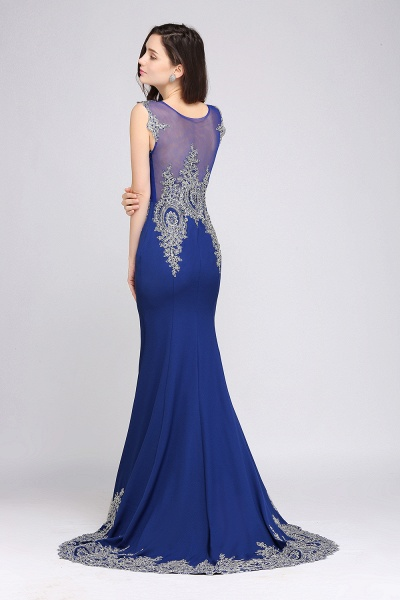 ANNIE | Mermaid Scoop Sweep Train Royal Blue Prom Dresses with Appliques_3