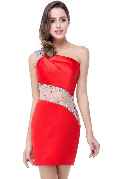 ELLE | Mermaid One-shoulder Short Prom Dresses with Crystal Beadings_2