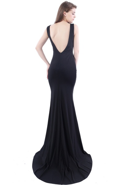 DALARY | Mermaid Jewel Court-Train Embroidery Black Prom Dresses with Pearls_3