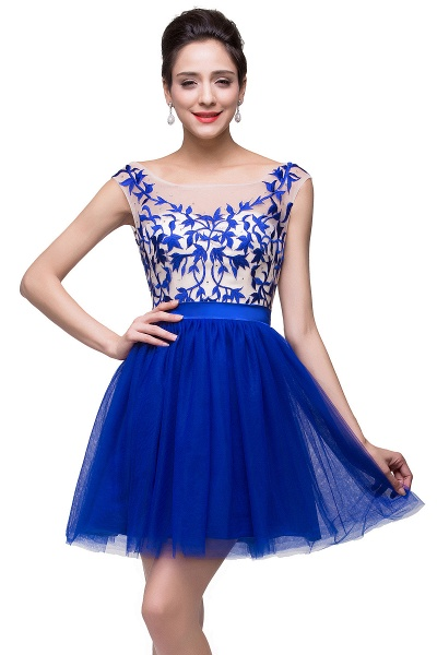 ELIZA | A-line Sleeveless Bateau Short Tulle Appliques Prom Dresses_9