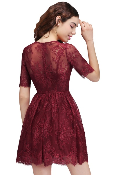 Burgundy A-Line Round Neck Lace Short Homecoming Dresses_3