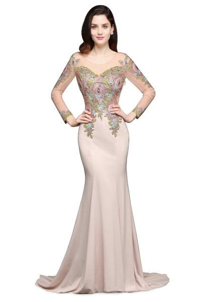 Excellent Scoop Stretch Satin Mermaid Evening Dress_1