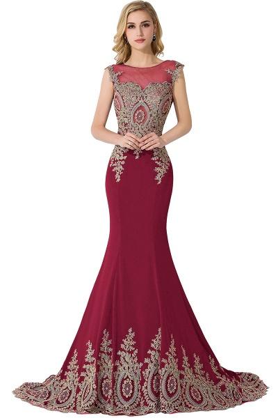 Mermaid Appliques Chiffon Court Train Evening Dress_3