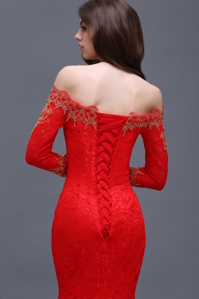 EMELIA | Mermaid Off-shoulder Floor-length Lace Appliques Prom Dresses_8