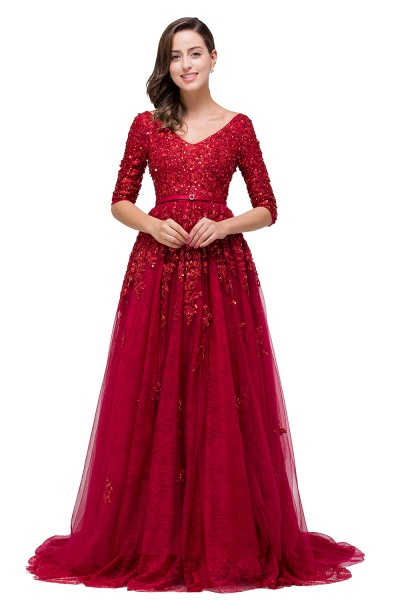 FRANCES | A-Line Floor-Length V-neck Half Sleeves Lace Appliques Prom Dresses_7
