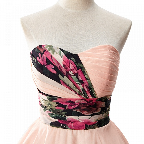ELENA | A-line Sweetheart Sleeveless Print Ruffles Short Chiffon Prom Dresses_4