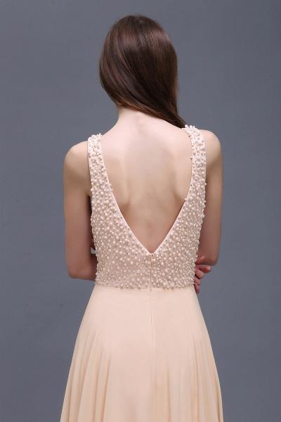 ALANA | Sheath Sheer Chiffon Long Evening Dresses With Pearls_3