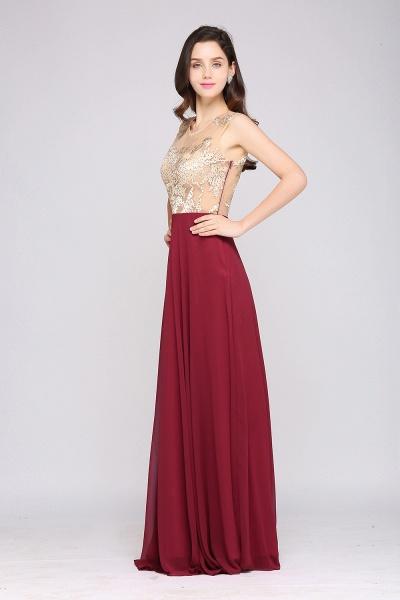 APRIL | A-line Scoop Chiffon Burgundy Pretty Evening Dresses_5