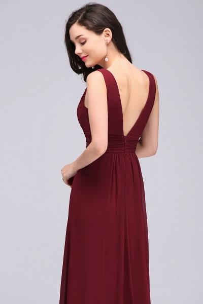 V-neck Chiffon Column Floor Length Bridesmaid Dress_6
