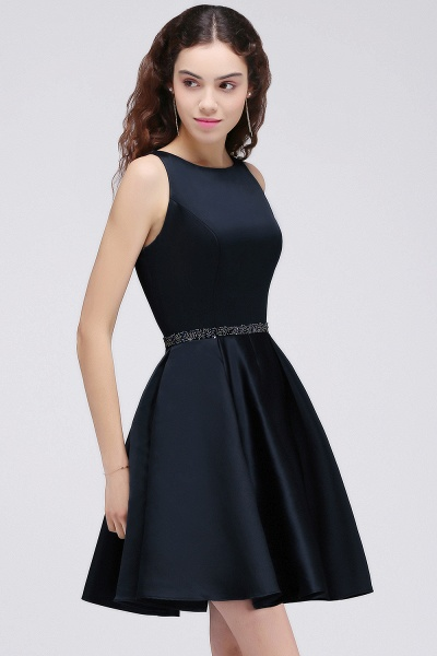BRIANNA | A-Line Round Neck Short Dark Navy Homecoming Dresses With Crystal_4