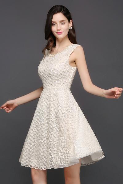 CHRISTINE | Princess Scoop neck Knee-length Lace Sexy Prom Dress_4