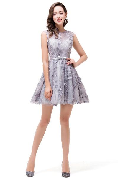 DANICA | A-Line Jewel Sleeveless Flower Applique Grey Prom Dresses_6