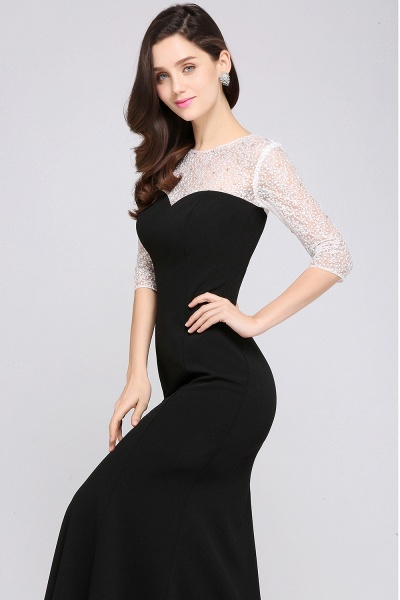 ARIEL | Mermaid Floor Length Black Cheap Evening Dresses with Lace_4
