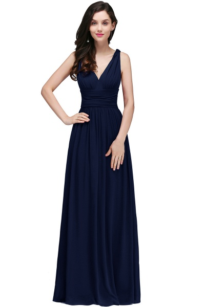 Wonderful V-neck Chiffon A-line Evening Dress_4