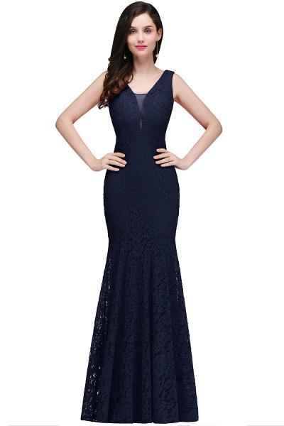 Elegant Floor-length Lace Mermaid Evening Dress_1