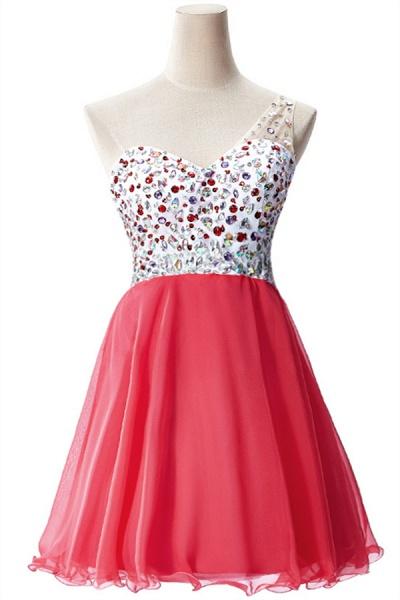 Elegant One Shoulder Chiffon A-line Evening Dress_1