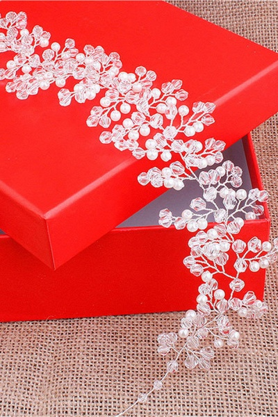 Glamourous Plastic&Alloy Crystal Special Occasion Hairpins Headpiece with Imitation Pearls_4