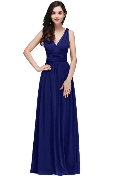 Wonderful V-neck Chiffon A-line Evening Dress_5