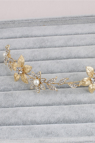 Floral Alloy&Imitation Pearls Daily Wear Hairpins Headpiece with Rhinestone_5