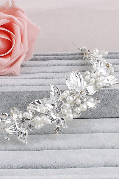 Elegant Alloy&Imitation Pearls Special Occasion Hairpins Headpiece with Rhinestone_2