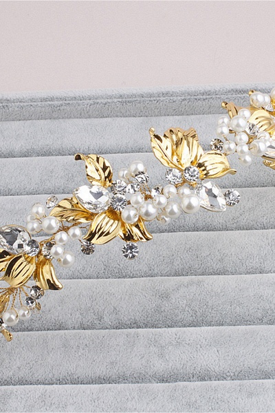 Elegant Alloy&Imitation Pearls Special Occasion Hairpins Headpiece with Rhinestone_1