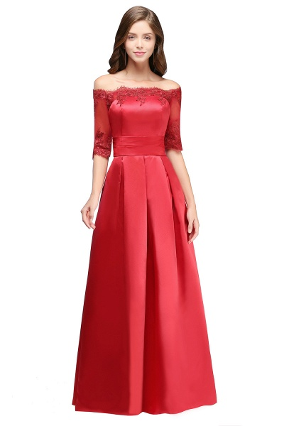 Elegant Off-the-shoulder Satin A-line Evening Dress_1