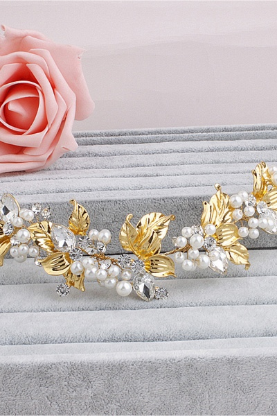 Elegant Alloy&Imitation Pearls Special Occasion Hairpins Headpiece with Rhinestone_4