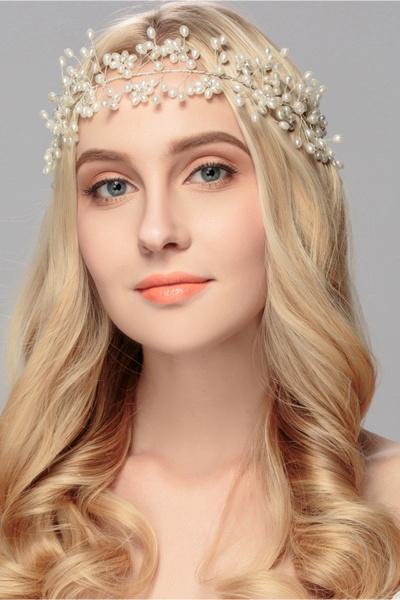 Beautiful Alloy&Imitation Pearls Party Headbands Headpiece with Rhinestone_4
