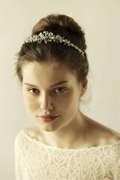 Elegant Alloy Imitation Pearls Special Occasion&Wedding Hairpins Headpiece with Crystal Rhinestone_5